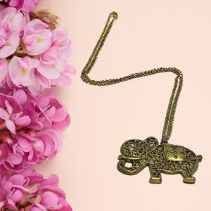 🐘 Long gold color necklace with elephant pendant
